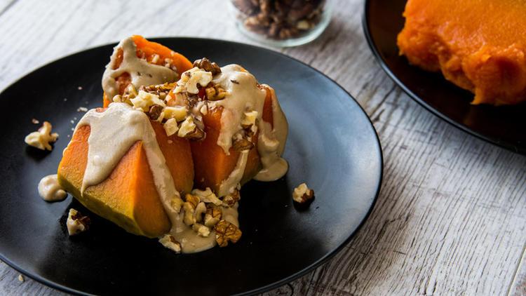 Pumpkin Dessert with Tahini and Walnuts