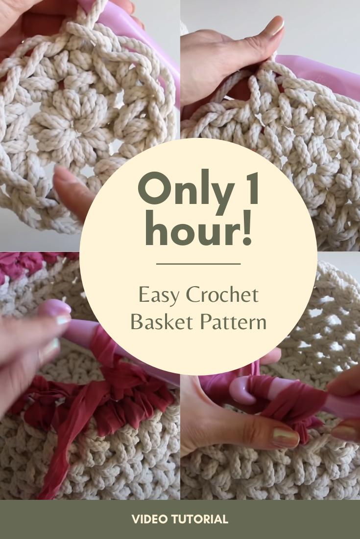 Easy Crochet Basket Pattern - Only 1 Hour!