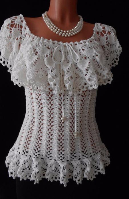 Crochet Ruffle Crochet Blouse
