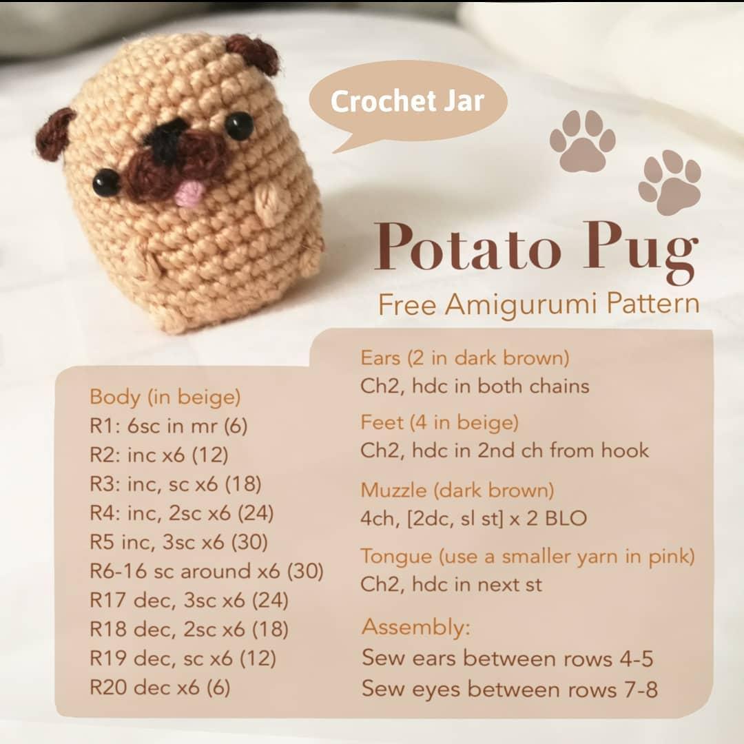 Potato Pug Free Amigurumi Pattern