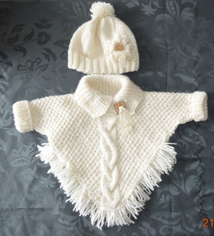 Knitted Baby Poncho with Sleeves