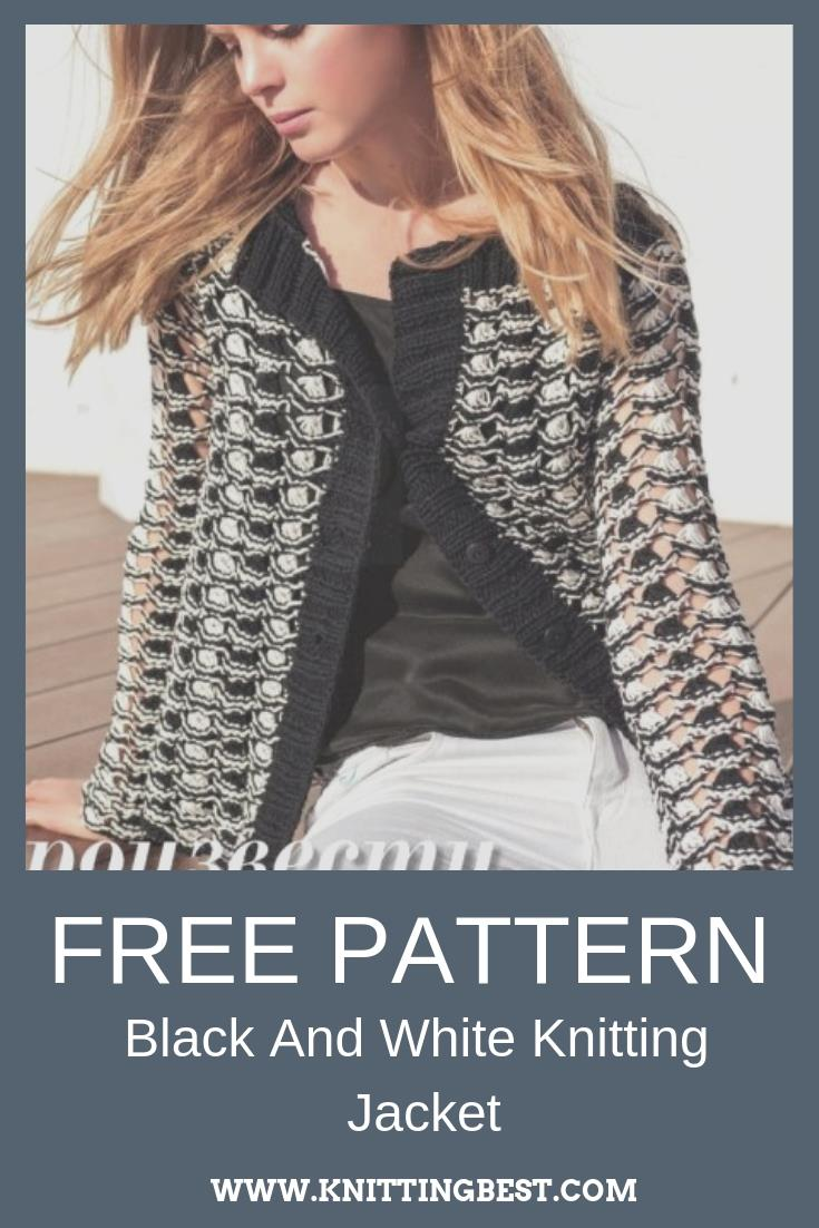Free Patten Black And White Knitting Jacket