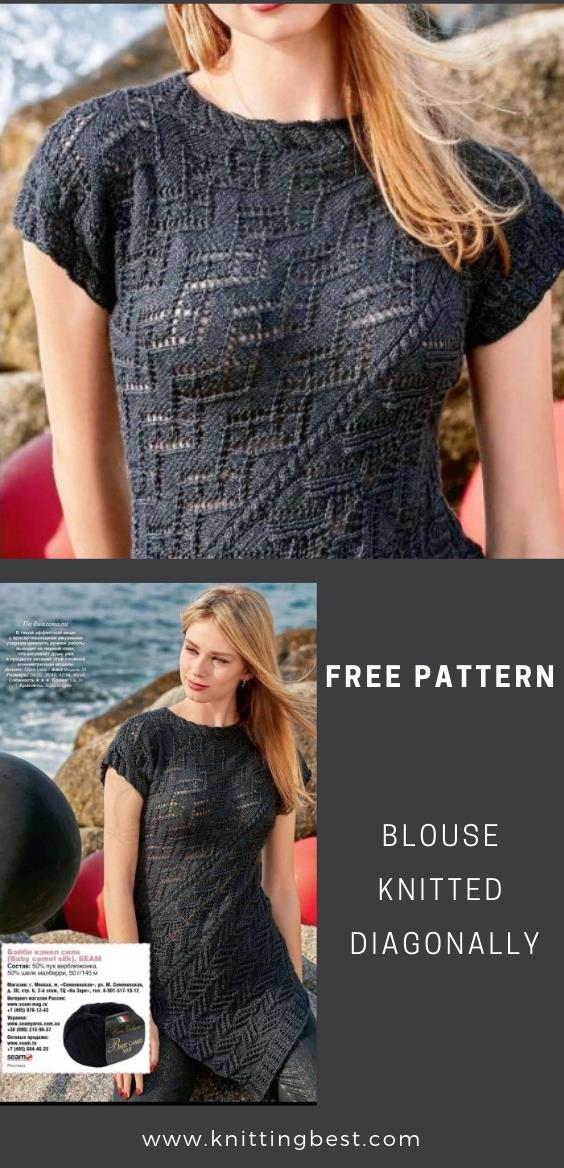 Free Pattern Blouse Knitted Diagonally