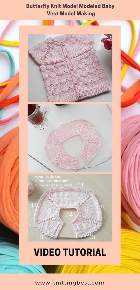 Free Pattern Butterfly Knit Model Modeled Baby Vest Model Making