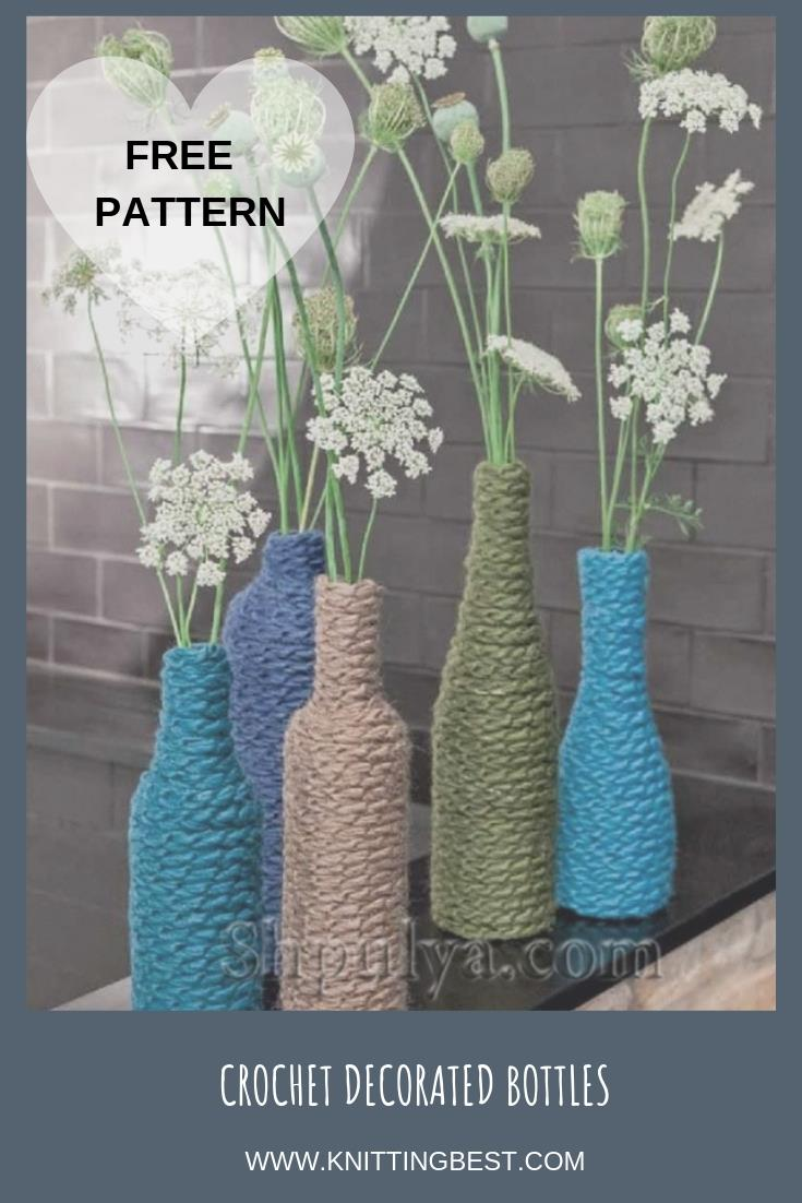 Free Pattern Crochet Decorated Bottles