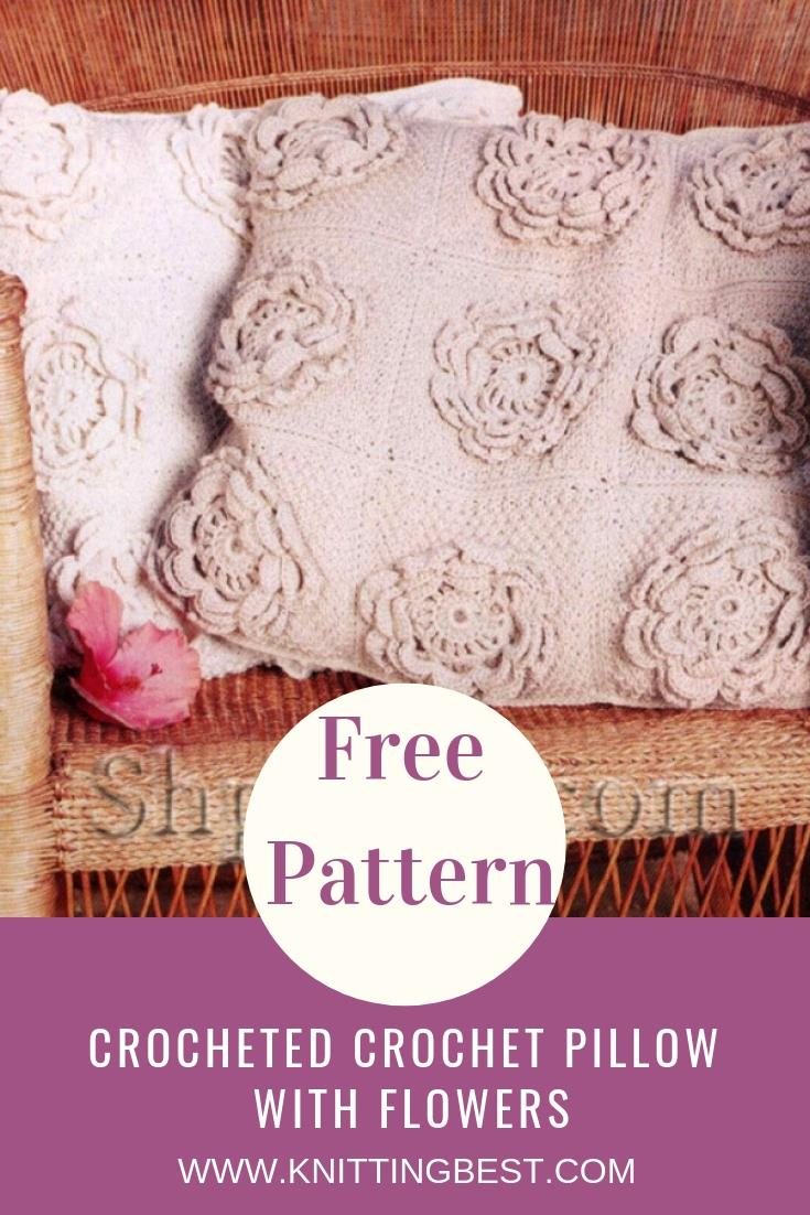 Free Pattern Crocheted Crochet Pillow With Flowers