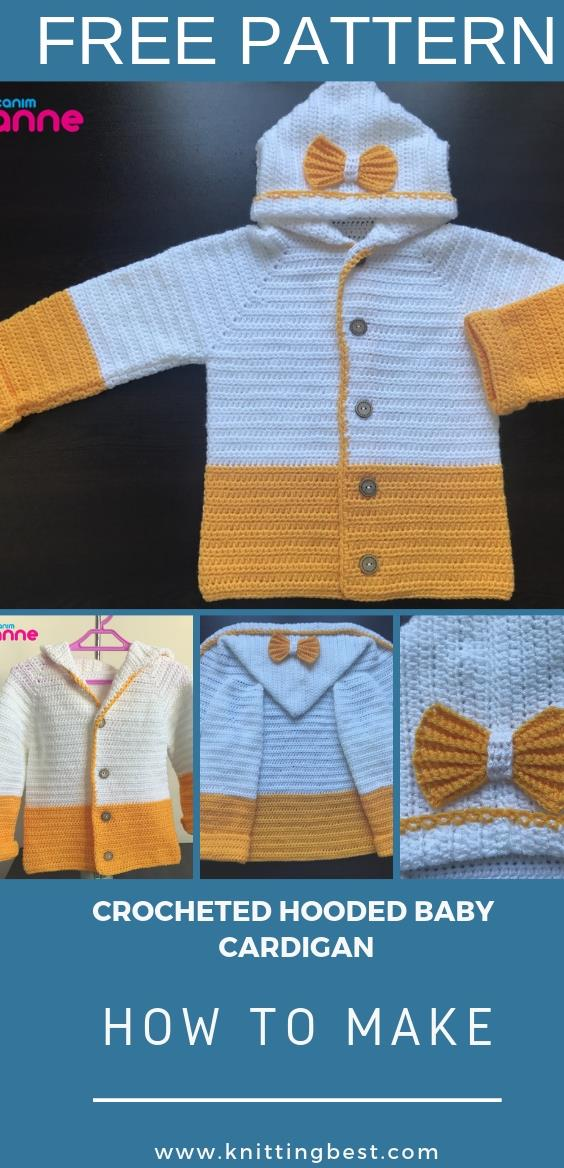 FREE PATTERN CROCHETED HOODED BABY CARDIGAN
