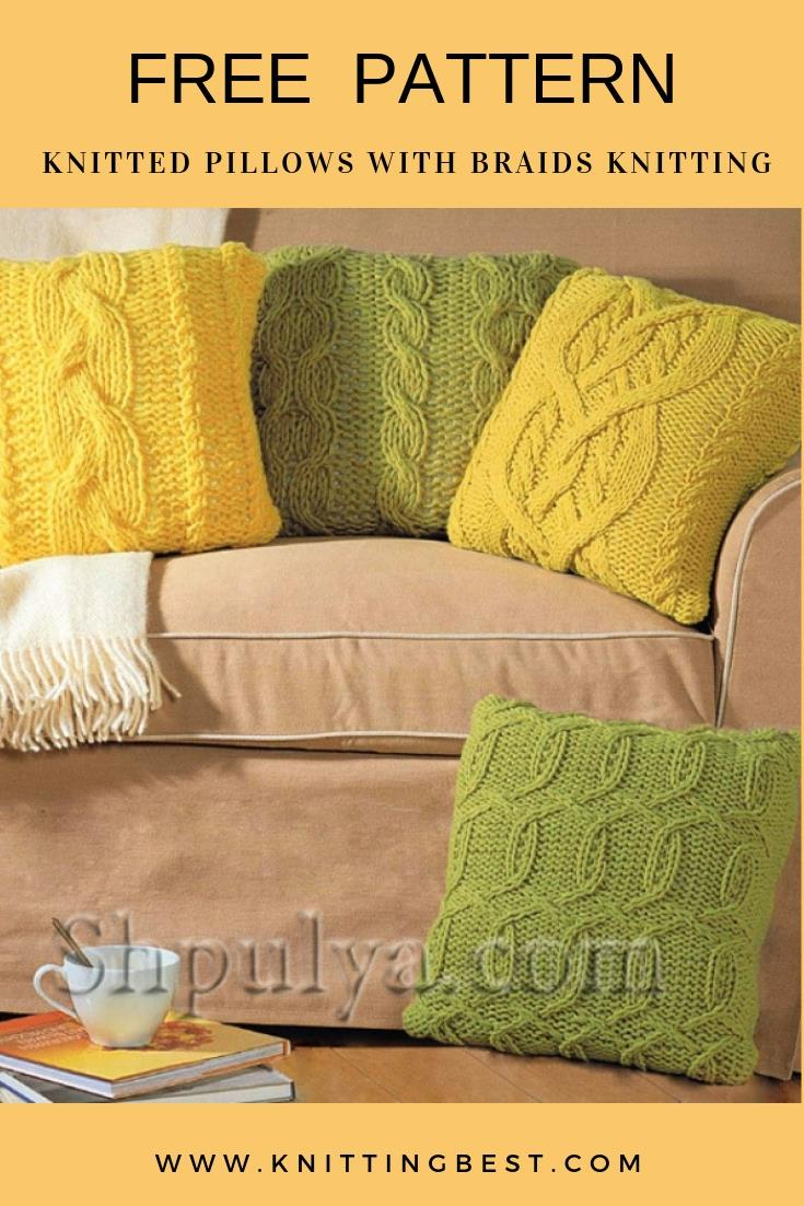 Free Pattern Knitted Pillows With Braids Knitting