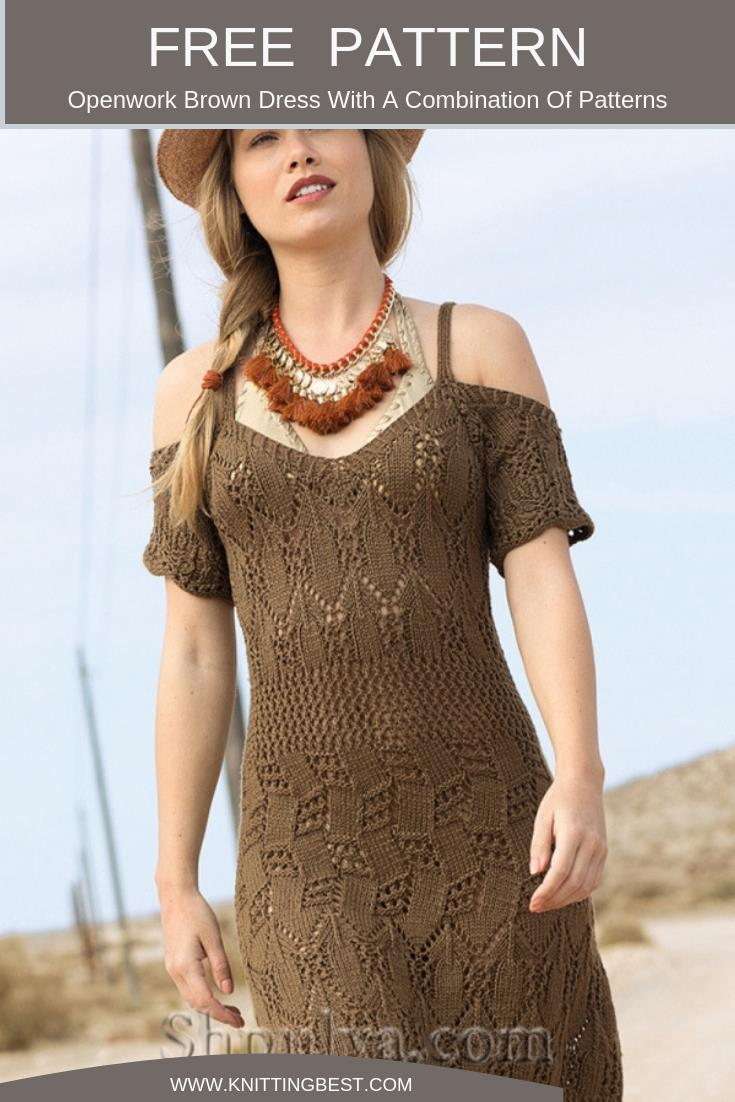 Free Pattern Openwork Brown Dress With A Combination Of Patterns