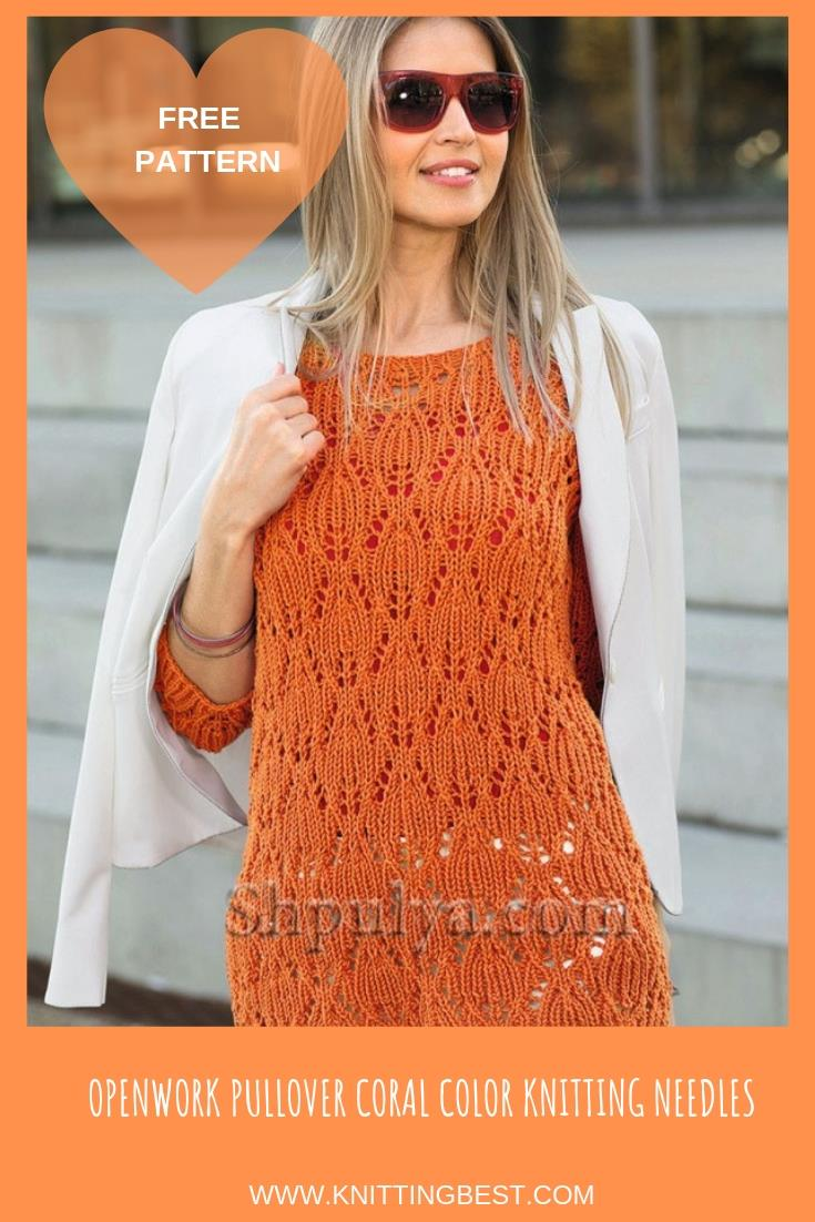 FREE PATTERN OPENWORK PULLOVER CORAL COLOR KNITTING NEEDLES
