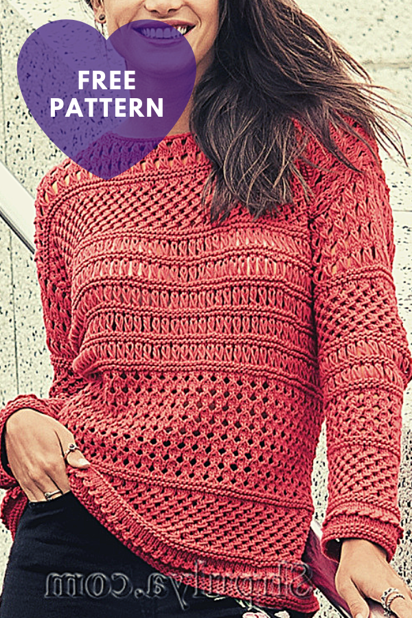 Free Pattern Openwork Red  Pullover With A Combination Of Patterns