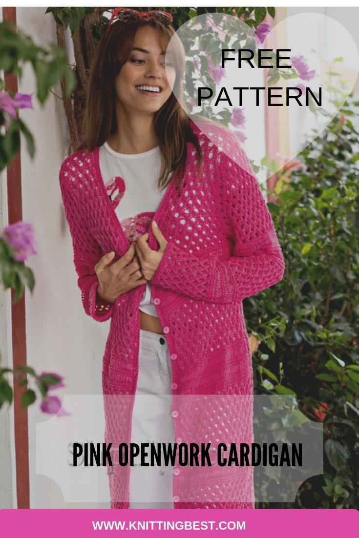 Free Pattern Pink Openwork Cardigan