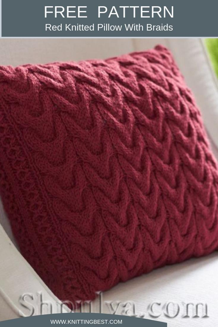 Free Pattern Red Knitted Pillow With Braids