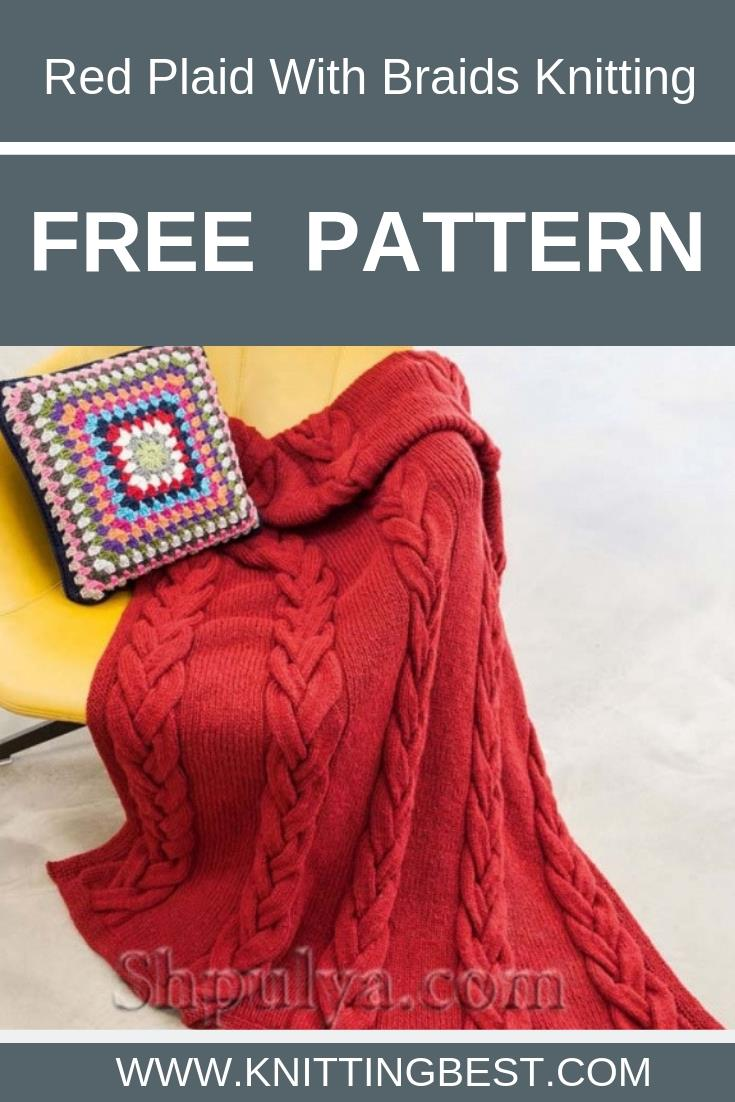 Free Pattern Red Plaid With Braids Knitting