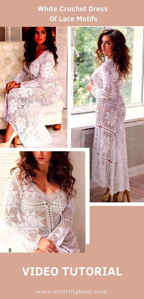 Free Pattern White Crochet Dress Of Lace Motifs