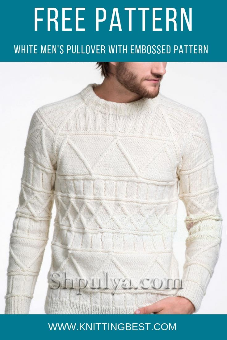 Free Pattern White Men's Pullover With Embossed Pattern