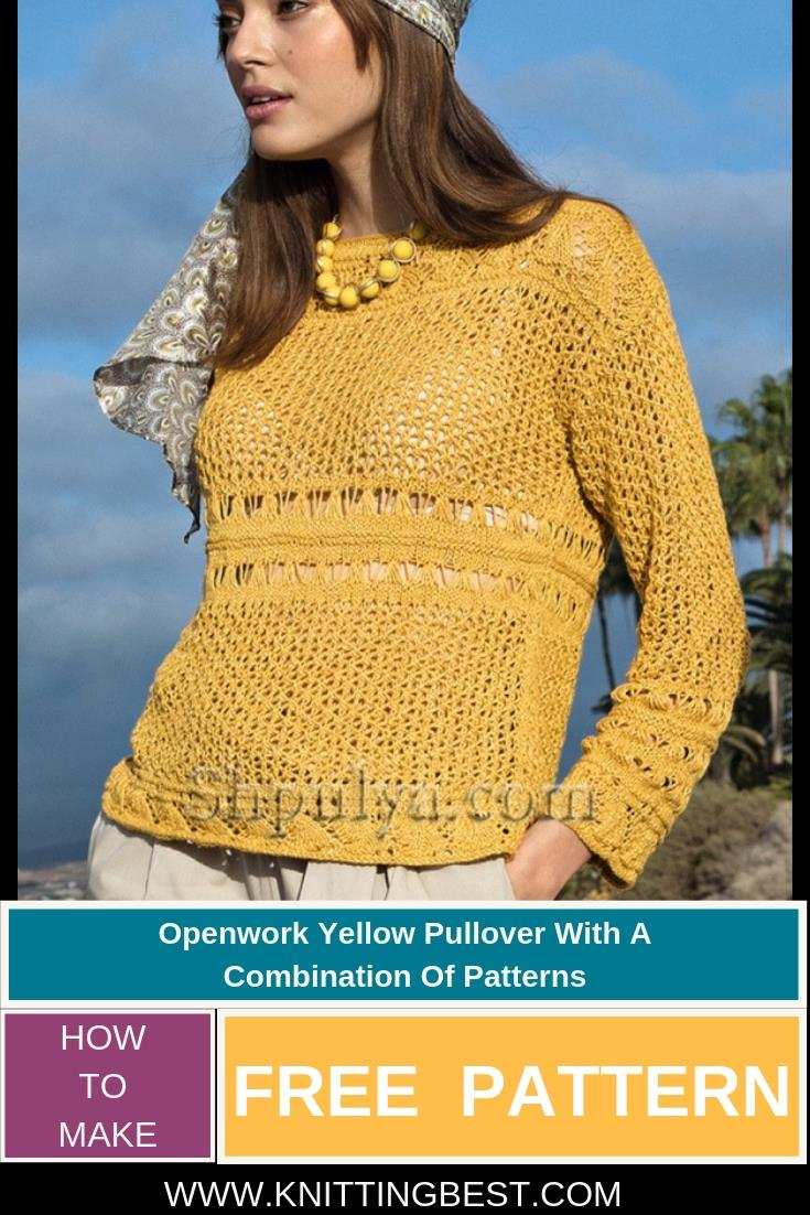 Free Patttern Openwork Yellow Pullover With A  Combination Of Patterns