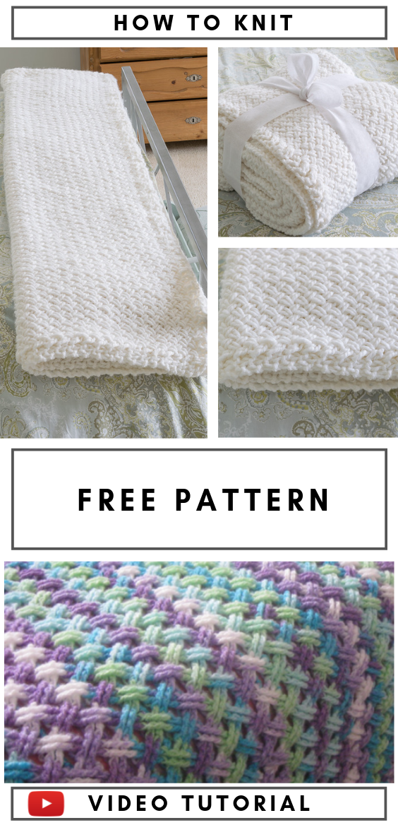 Knit Blanket with Diagonal Basketweave Stitch