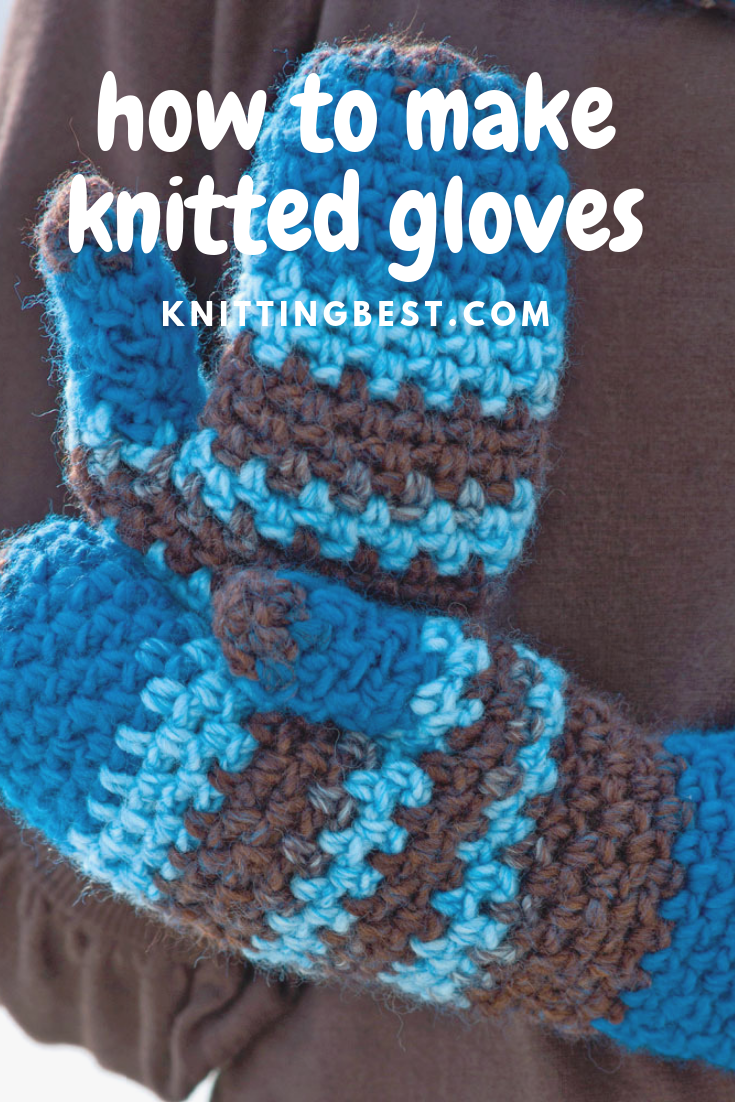 Knitted Blue Gloves