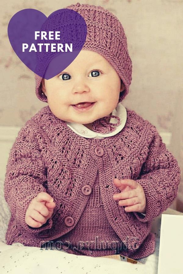 Knitted Set For Baby: Cardigan, Jumpsuit And Knitting Hat [Free Pattern]