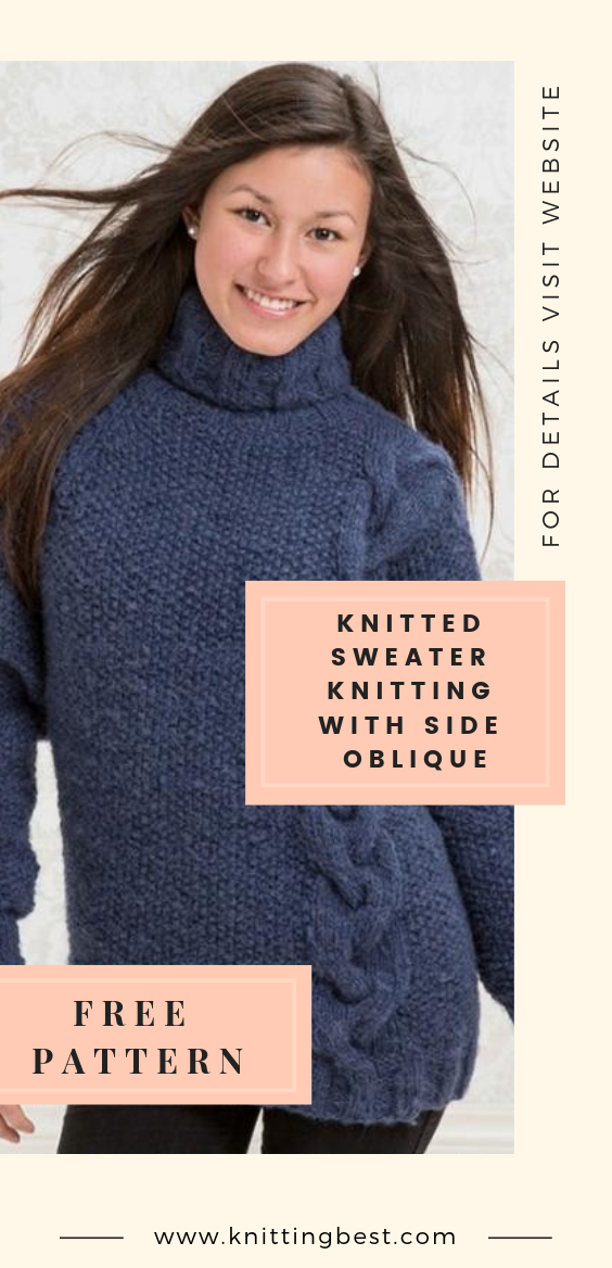 Knitted Sweater Knitting With Side Oblique