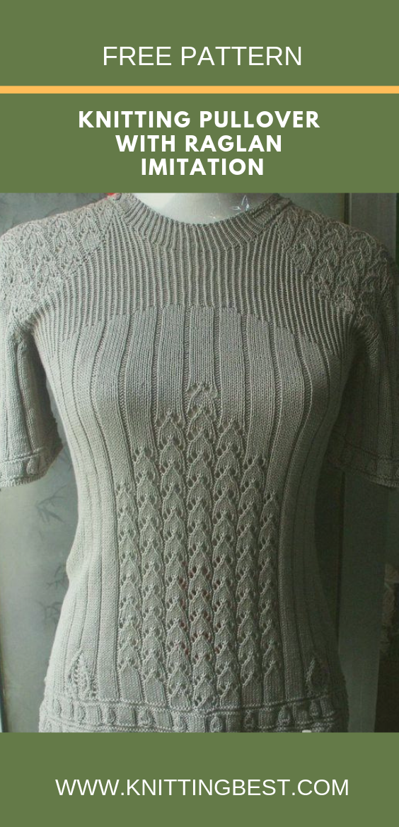 Knitting Pullover With Raglan Imitation