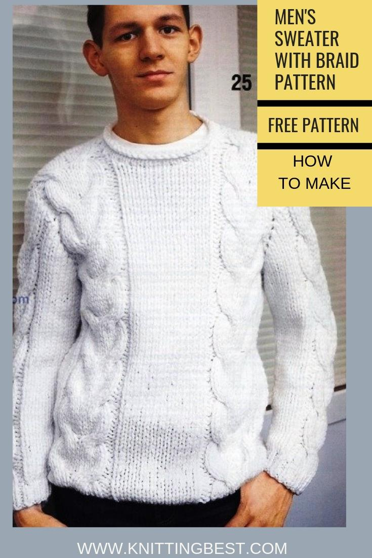 Men S Sweater With Braid Pattern