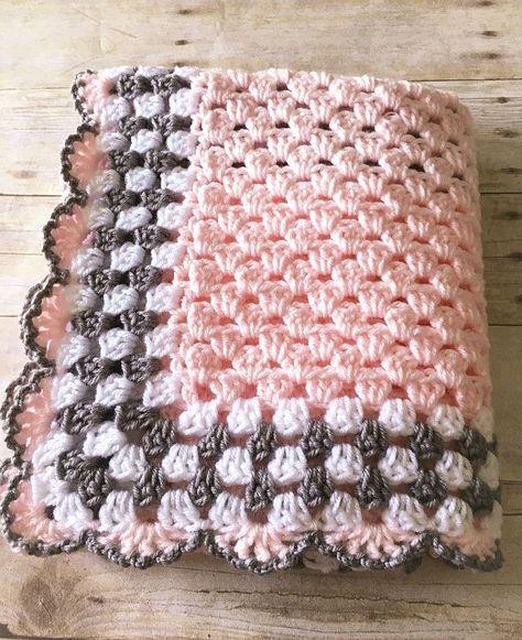 Pink Grey Baby Blanket