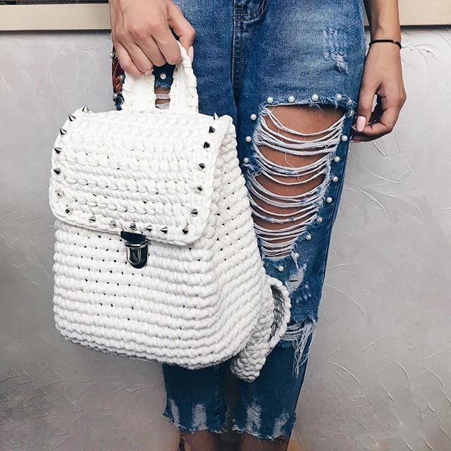 White Knitting Bag