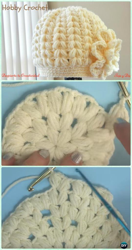 Crochet Puff Stitch Beanie Hat