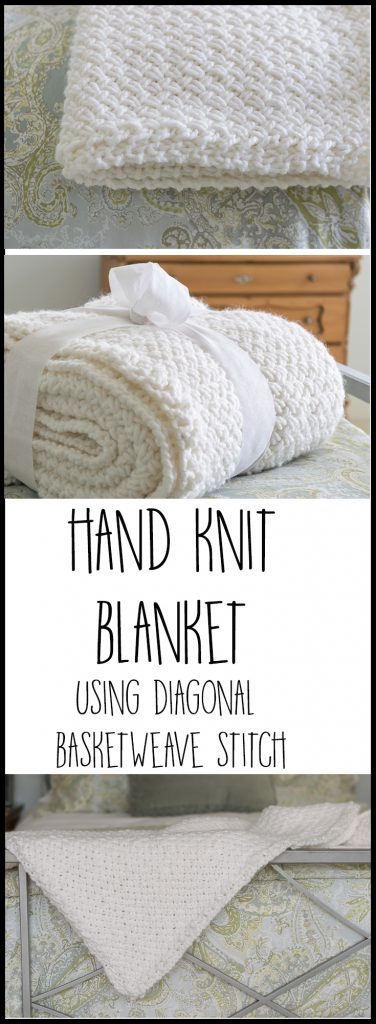 Knit a Blanket with Diagonal Basket Weave Stitch