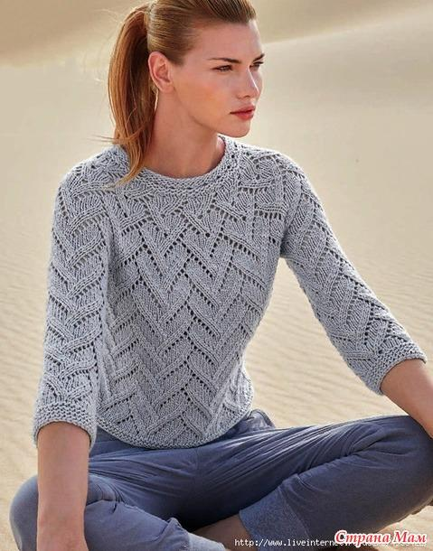 WOMEN'S SILVER SUMMER PULLOVER WITH 3/4 SLEEVES. KNITTING NEEDLES