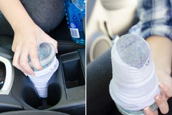 6. Use an old sock to clean out your cupholders