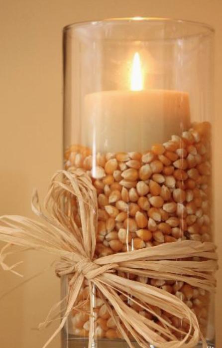 Popcorn Kernel Filled Candleholder