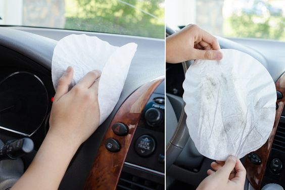 3. Use a coffee filter to dust your car interior