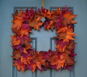 Square Fall Leaves Wreath