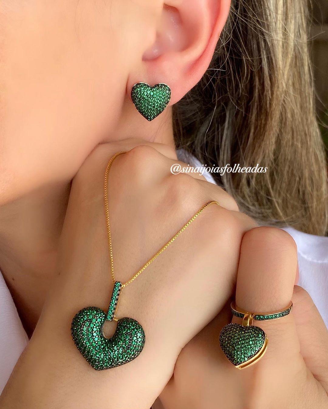 Um Luxo 💎 Colar ,Anel E Brincos Craveja Colarcoracao - Jewelry
