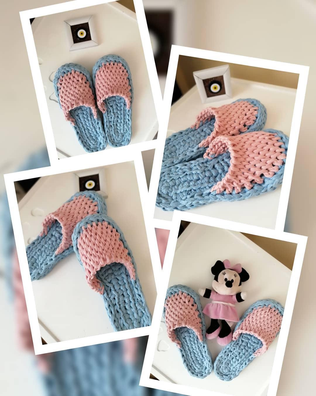Terliğin Resimli Hali Knitting Handmad Handmade - Knitting Bag
