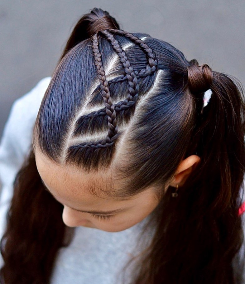 Pigtails With Lace Braids, Love The Way Braidstyles - Hair Ideas