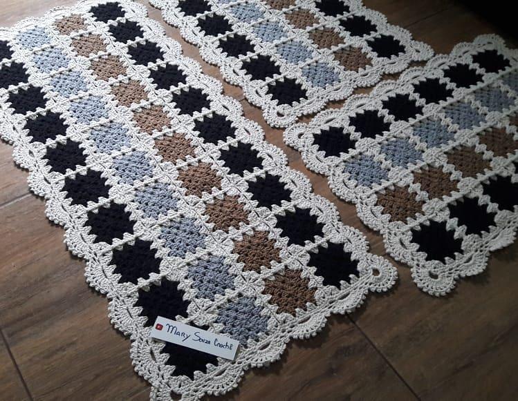 Tapete De Square Com Bico Rendado. Feit - Crochet Rug