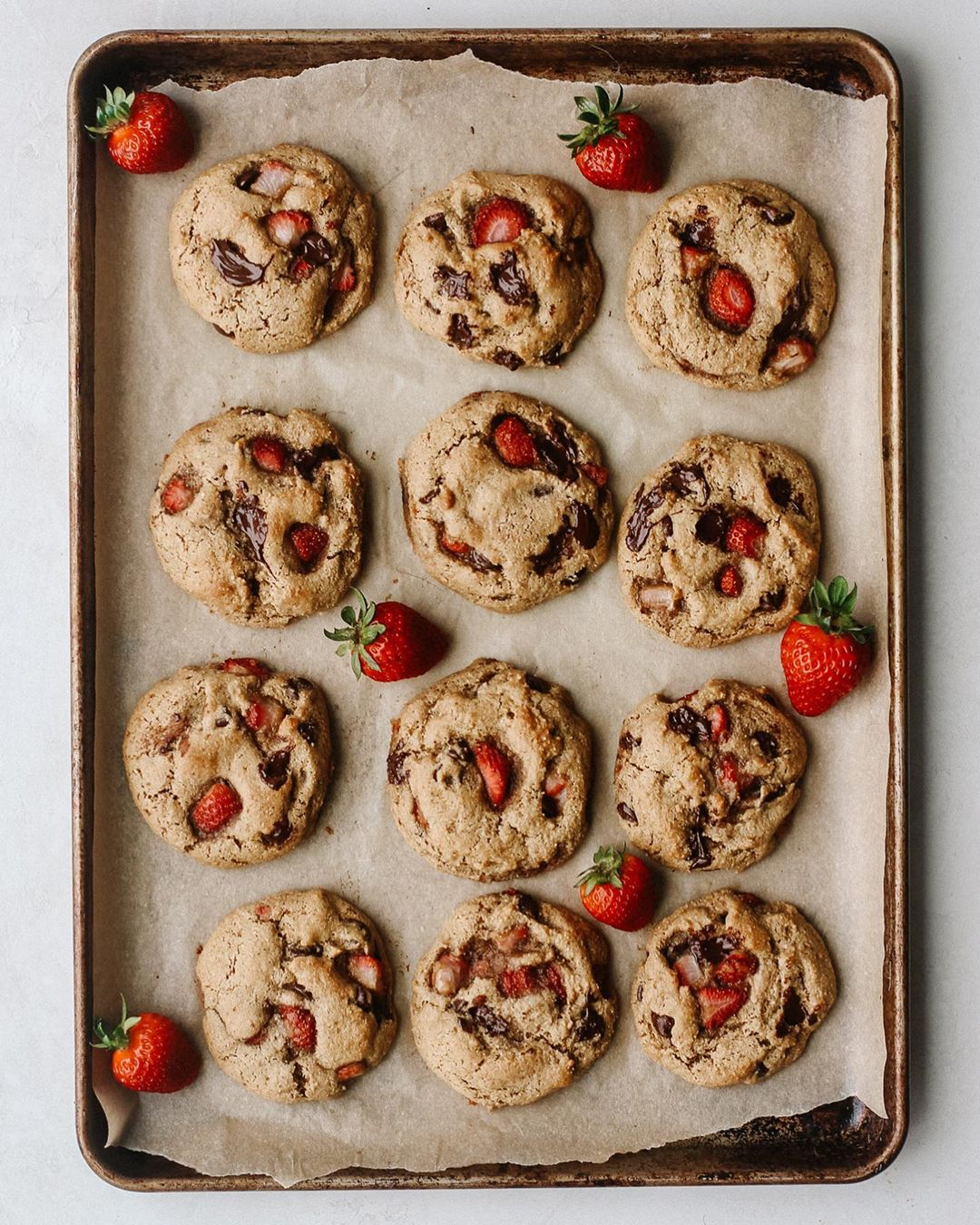 Strawberry Chocolate Chip Cookies In Par - Healthy Recipes