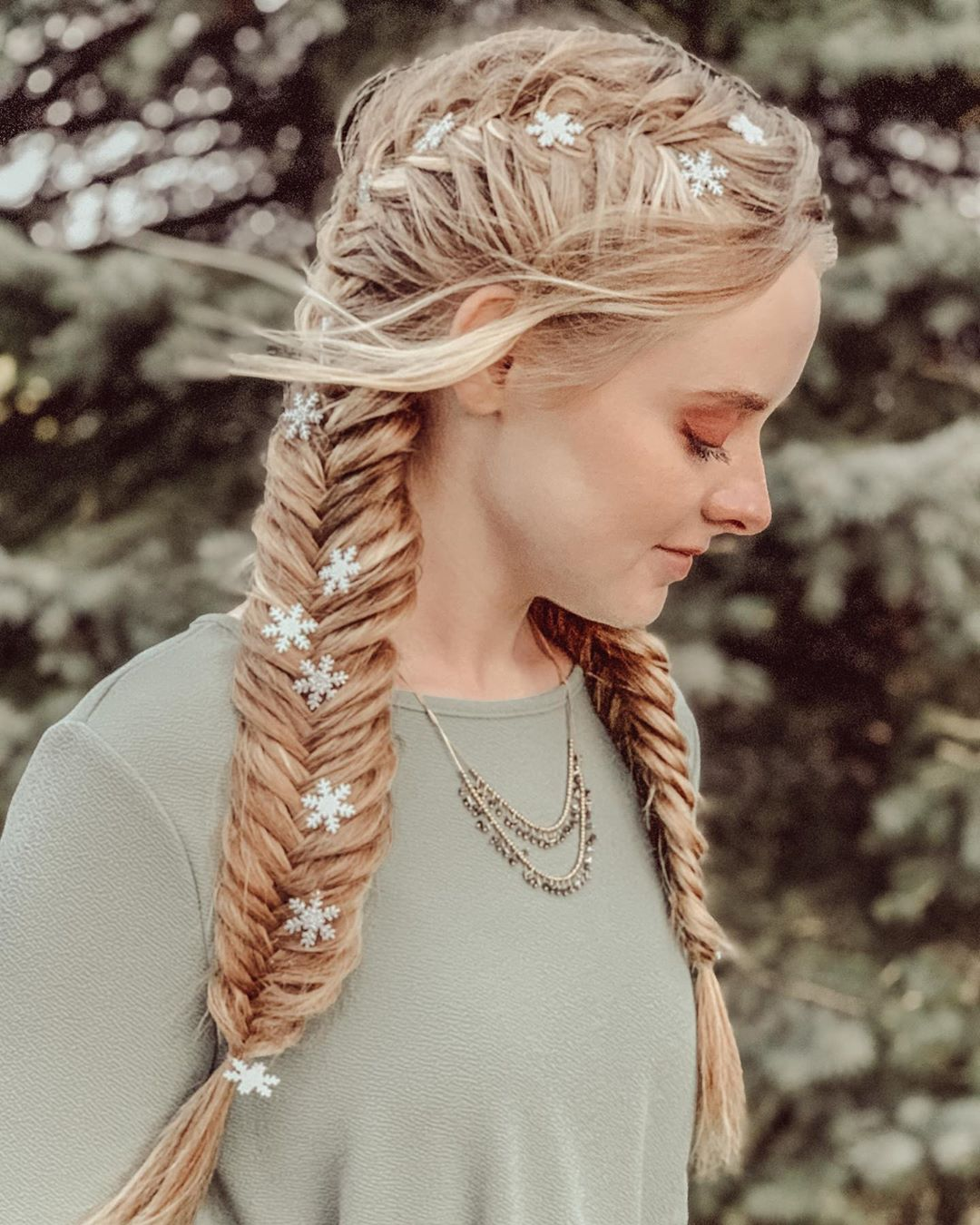 ❄️Snowflake Accented Fishtail Braids❄️ Braids - Hairstyles For Girls