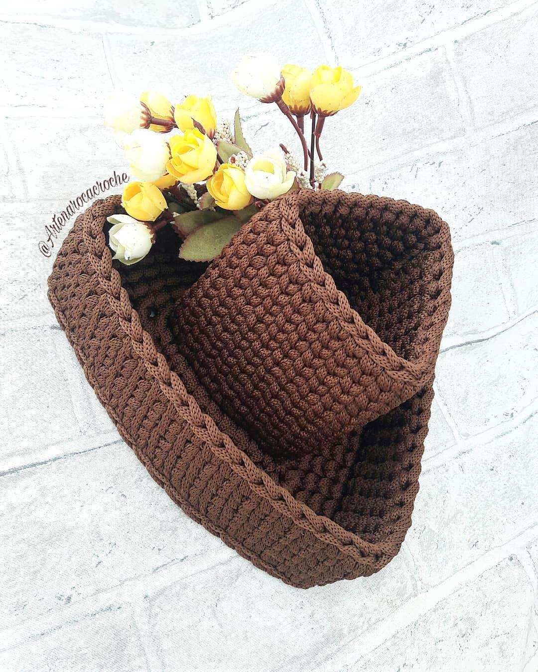 Cesto Ilha,, Versão Triangular⛰🛆🔺, Uma Crochettutorial - Crochet Tutorial