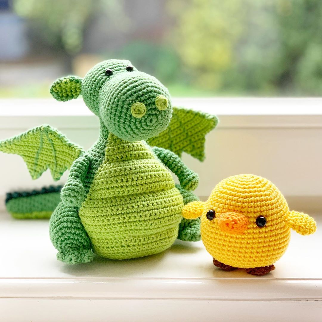 Yoki The Dragon & Baby Chicken Amigurumi Diyfluffies - Crafts