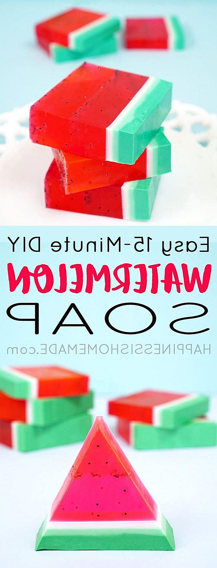 This cute and easy DIY Watermelon Soap can be made in just 15 minutes, and it smells delicious! A quick and easy homemade gift ide