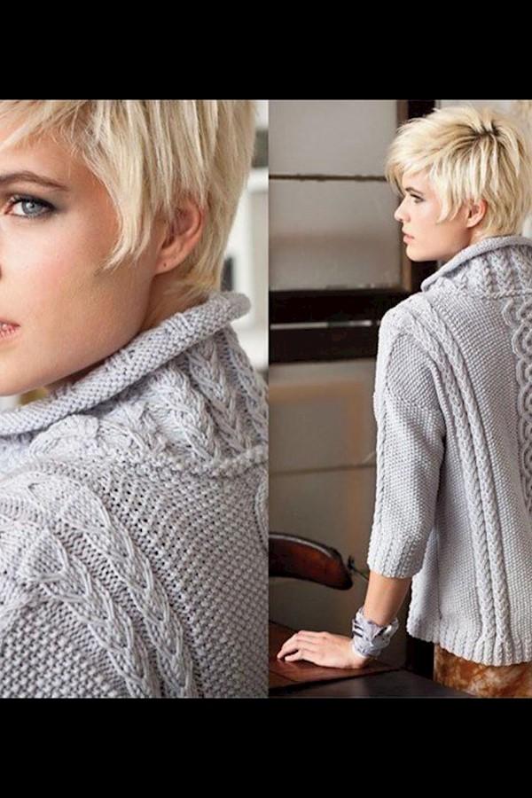 Свободный пуловер с рукавами 3/4#спицы #вязаный_пуловерРазмеры S, М, L, XL, 1X и 2Х, на фото на с. 30 показан размер S.РАЗМЕРЫ ИЗД