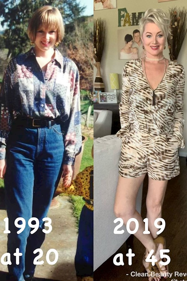 Oh this is a goodie 🤪 Those Mom jeans, hair and what threw up on my shirt. I'm not afraid of getting older.....I'm afraid of not