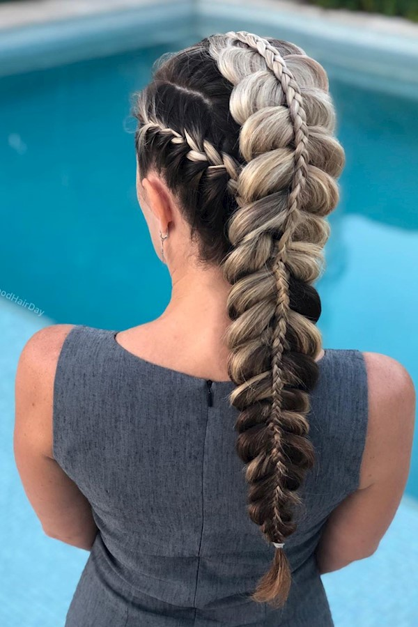 French braid + a pancaked stacked braid 🤩