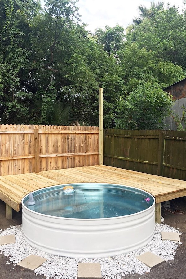 If you've been watching our stories you know that the past couple of days we've been building out a deck & turning a stock tank in