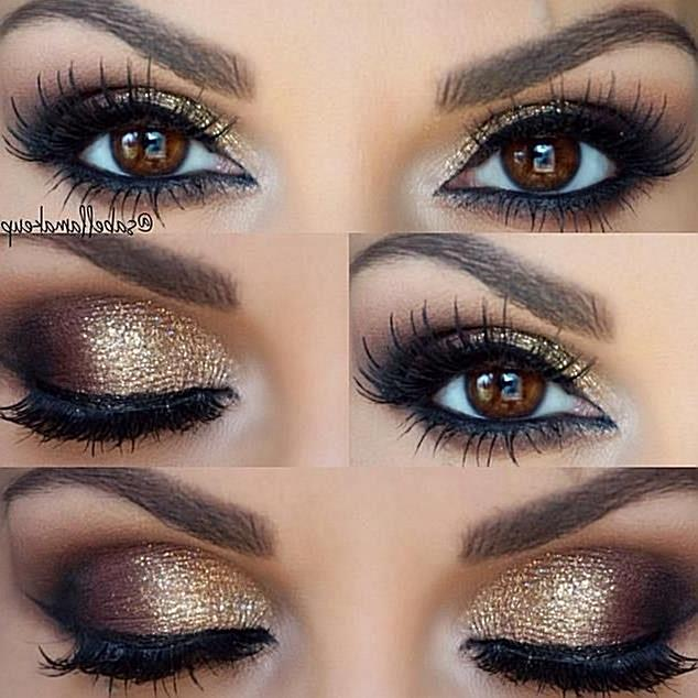 gold smokey eye. A little too much make up for every day, but very pretty for a night out